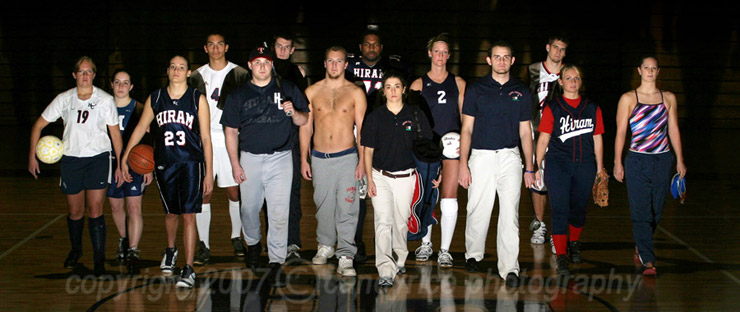 Some of the Hiram College athletes in a shot Candy set up and took for a campaign